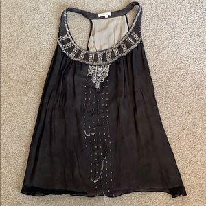 Black women's Large 100 % silk sleeveless blouse